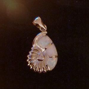 Silver Fire Opal Pendant